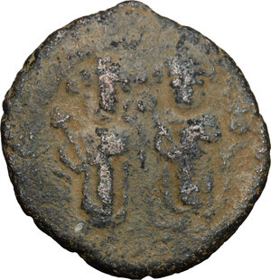 obverse: Arab-byzantine, Umayyad Caliphate, pre-reform coinage.. AE Fals, Baalbek mint, 41-77 H / 661-697 AD