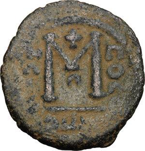 reverse: Arab-byzantine, Umayyad Caliphate, pre-reform coinage.. AE Fals, Baalbek mint, 41-77 H / 661-697 AD