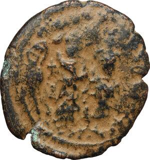 obverse: Arab-byzantine, Umayyad Caliphate, pre-reform coinage.. AE Fals, Tiberias mint, 41-77 H / 661-697 AD