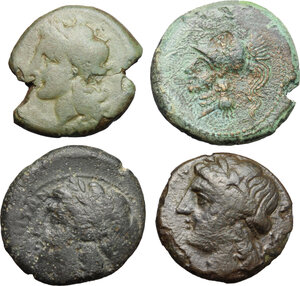 obverse: Greek Italy. Multiple lot of four (4) unclassified AE coins