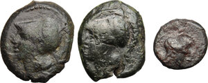 obverse: Greek and Punic Sicily. Multiple lot of three (3) unclassified AE coins