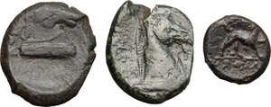 reverse: Greek and Punic Sicily. Multiple lot of three (3) unclassified AE coins