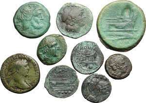 obverse: Roman Republic and Roman Empire. Multiple lot of nine (9) unclassified AE coins, 8 Roman Republican and a Trajan AE As