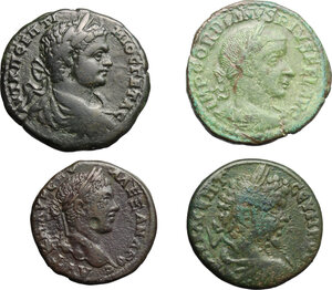 obverse: Roman Empire. Septimius Severus to Gordian III. . Multiple lot of four (4) unclassified AE Provincial coins