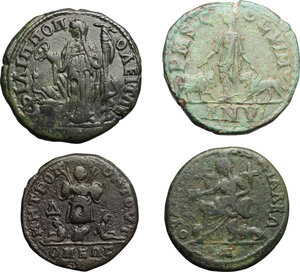 reverse: Roman Empire. Septimius Severus to Gordian III. . Multiple lot of four (4) unclassified AE Provincial coins