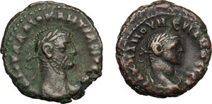 obverse: Roman Empire.. Multiple lot of two (2) unclassified BI Tetradrachms of Alexandria mint (Numerian and Diocletian)
