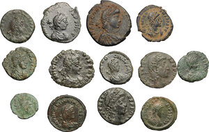 obverse: Roman Empire.. Multiple lot of thirteen (13) unclassified choise AE 4, mostly of 4th century AD