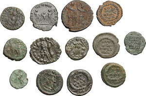 reverse: Roman Empire.. Multiple lot of thirteen (13) unclassified choise AE 4, mostly of 4th century AD