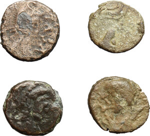 obverse: Ostrogothic Italy.. Multiple lot of four (4) unclassified AE Nummi, including two monogram types