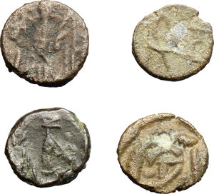 reverse: Ostrogothic Italy.. Multiple lot of four (4) unclassified AE Nummi, including two monogram types