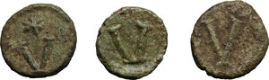 reverse: Byzantine Empire. Multiple lot of three (3) unclassified AE Pentanummii