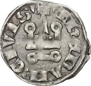 reverse: Thebe .  Guy II de La Roche (1285-1308).. BI Denier tournois