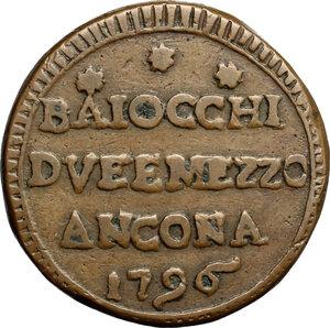 reverse: Ancona.  Pio VI (1775-1779).. Sampietrino da 2 e 1/2 baiocchi 1796