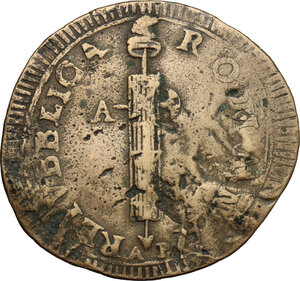 obverse: Ancona.  Repubblica Romana (1798-1799).. Due baiocchi, con iniziali A P