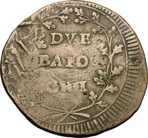 reverse: Ancona.  Repubblica Romana (1798-1799).. Due baiocchi, con iniziali A P