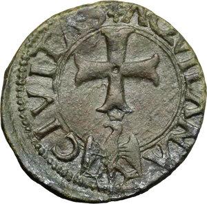 reverse: L Aquila.  Carlo VIII (1495). Cavallo