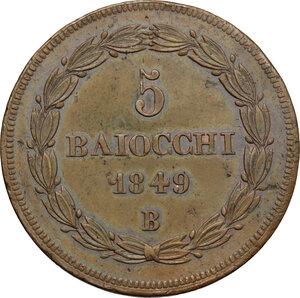 reverse: Bologna.  Pio IX  (1846-1878). 5 baiocchi 1849 A. IV