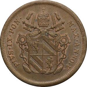 obverse: Bologna.  Pio IX  (1846-1878). 2 baiocchi 1851 A. V
