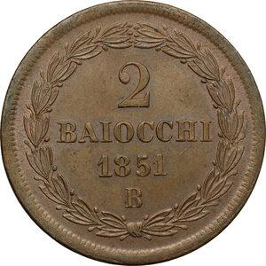 reverse: Bologna.  Pio IX  (1846-1878). 2 baiocchi 1851 A. V