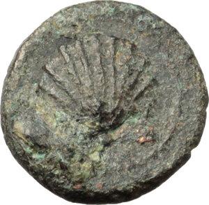 obverse: Southern Apulia, Brundisium. AE 1/8 Uncia, c. 215 BC