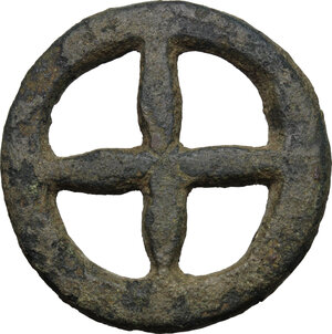 obverse: Celtic Gaul, Uncertain Tribe. AE Wheel money, c. 1st century BC