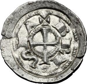 reverse: Brescia.  Comune a nome di Federico I (1186-1250). Denaro scodellato