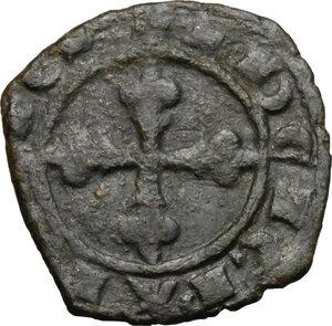 reverse: Brindisi o Messina.  Carlo I d Angiò (1266-1282). Denaro con stemma