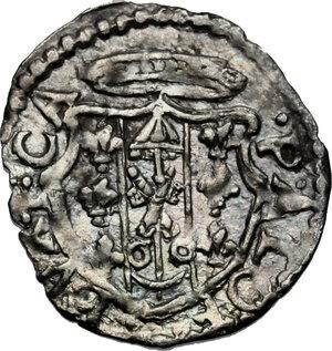 obverse: Castro.  Pier Luigi Farnese (1545-1547).. Baiocchetto con il Santo a mezza figura