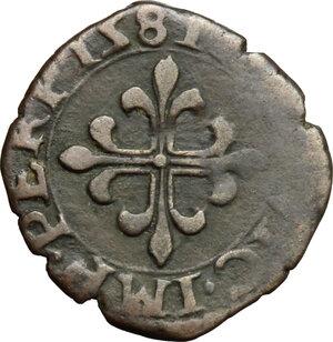 reverse: Desana.  Agostino Tizzone (1559-1582). Liard 1581