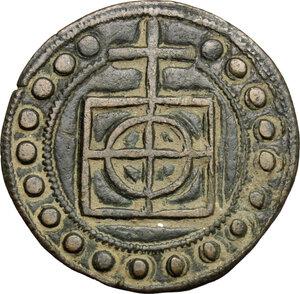 obverse: Fabriano.  Meo di Venanzo, cartaio.. Tessera mercantile, metà del XIV sec