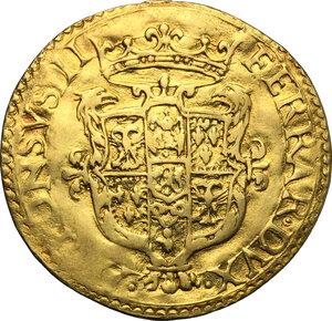 obverse: Ferrara.  Alfonso II d Este (1559-1597). Scudo d oro del sole senza data