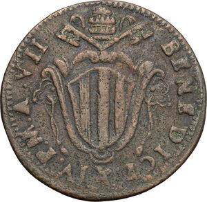 obverse: Ferrara.  Benedetto XIV (1740-1758).. Mezzo baiocco 1747 A. VII