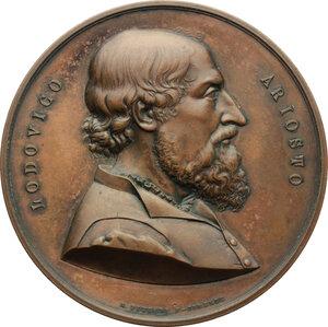 obverse: Ferrara.  Ludovico Ariosto, letterato (1474-1533). Medaglia 1874, per il IV centenario della nascita