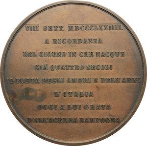 reverse: Ferrara.  Ludovico Ariosto, letterato (1474-1533). Medaglia 1874, per il IV centenario della nascita