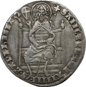reverse: Firenze.  Repubblica (sec. XIII-1532).. Grosso guelfo da 5 soldi 1347 II sem., Giovanni di Tozzo maestro di zecca