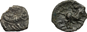 reverse: Belgic and Cisalpine Gaul. Multiple lot of two (2) unclassified coins: Insubres (?), AR Drachm imitating Massalia, Veliocasses (?), AE 14 mm