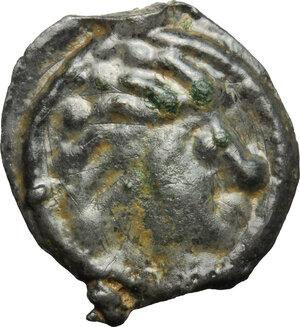 obverse: Northwest Gaul, Senones. Potin Unit, c. 100-50 BC