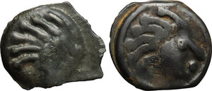 obverse: Northwest Gaul, Senones. Multiple lot of two (2) unclassified Potin Units, c. 100-50 BC