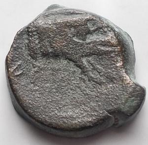 reverse: Mondo Greco - APULIA. Arpi. Ca 325-275 Ac. . g 4,23. d/ Zeus a ds dietro fulmine r/ Parte di cinghiale a sn.SNG France 1240; SNG ANS -; HN Italy 643. qBB