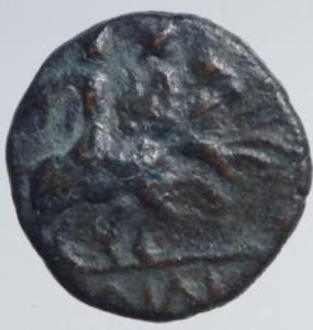 reverse: Mondo Greco. Apulia. Caelia. ca. 220-150 a.C. Semuncia. . D\ Testa di Athena con elmo corinzio a destra. R/ Dioscuri al galoppo verso destra. HNItaly 770; SNG ANS 680. Peso 1,60 gr. Diametro 12,00 mm. BB+. RR.po