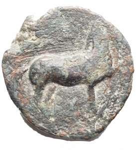obverse: Mondo Greco - Apulia. Salapia. 275-250 a.C.AE. d/ Cavallo a destra con la zampa anteriore sollevata r/ Delfino a destra. g 7,44. mm 18,4. qBB. Patina verde