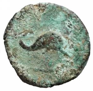 reverse: Mondo Greco - Apulia Salapia.AE. D/ Delfino a destra. R/ Delfino a destra. Rutter 689. Diametro 15,1 x 15,9 mm. Peso 3,28 gr.BB. R. Patina