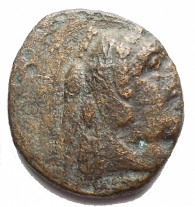 obverse: Mondo Greco - Bruttium. Crotone.ca 350-300 a.C.AE. D/ Testa di Heracles a destra, con leont. R/ Aquila a ds con testa retrospiciente. Peso g 1,987. Diametro mm 13,05 x 14,5. qBB/BB. R