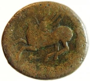 reverse: Mondo Greco. Bruttium. Lokri Epizephrioi. ca. 300-268 a.C. 1. D/ Athena a sinistra. R/ Pegaso in volo a sinistra.Peso 9,86 gr. BB. R.