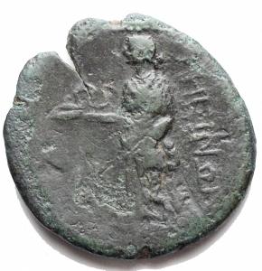 reverse: Mondo Greco -Bruttium, Rhegium.AE 23 mm. 260-212 a.C.D/ Testa di Asclepius a destra.R/ PHIN. Hygieia stante a sinistra tiene un serpente sulla mano destra protesa. RifHNI (Italy) 2560.g 5,73. MB-qBB.R