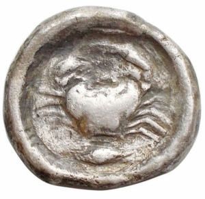 obverse: Mondo Greco - Sicilia. Agrigento. Didramma Ag. ca 480-470 a.C. g 6,68. mm 18,2. d/ Aquila ad ali chiuse stante a sinistra. r/ Granchio, sotto chicco di grano. MB-BB. R