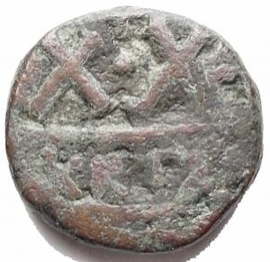reverse: Impero Bizantino - Eraclio 610-641. Cartagine. XX Nummi 620/621. gr 4,5. mm 16,04.Sear 874, MIB 235, Sommer 11.108. MB-qBB. Raro