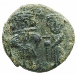 obverse: Bizantini. Costante II con Costantino IV, Eraclio e Tiberio. 659-668 d.C. Follis. Ae. Siracusa. D/ Figure stanti di Costante e Costantino IV. R/ Numerale M; accanto le figure di Eraclio e Tiberio. Sp. 159. Calciati 28. Peso gr. 4,71. SPL. Patina verde.
