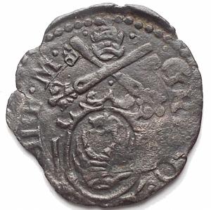 obverse: Zecche Italiane -Ancona.Gregorio XIII (1572-1585).Quattrino.CNI 356.MI.g 0,71. BB+