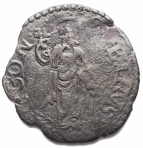 reverse: Zecche Italiane -Ancona.Gregorio XIII (1572-1585).Quattrino.CNI 356.MI.g 0,71. BB+
